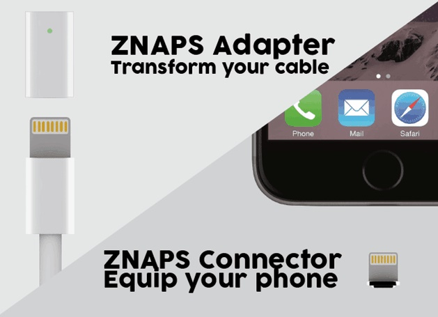 Znaps integrates a magnetic charging port to any smartphone