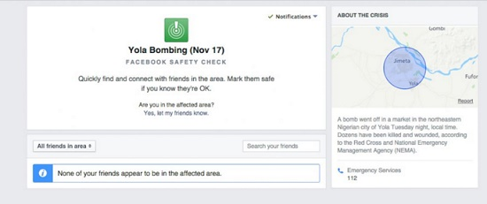 Facebook activates Safety Check after bombing attacks on Yola, Nigeria