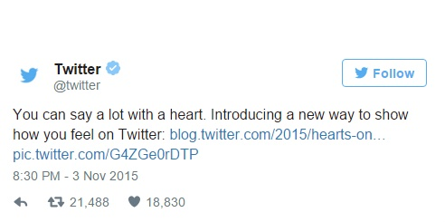 Twitter replaces Favorites with Likes, Star icon changed to Heart