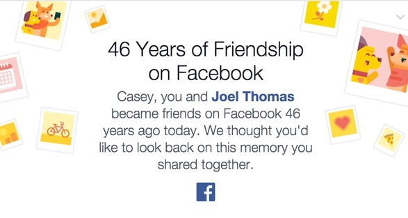 Facebook bug causing the app to congratulate users for 46 years of friendship with other users
