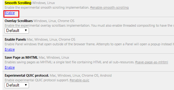 How to Enable smooth scrolling in Google Chrome?