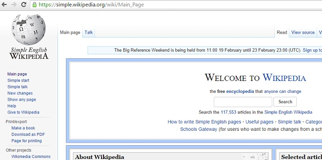 you can use simplified version of Wikipedia