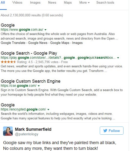 Google may change the link color of Google Search results from blue to black