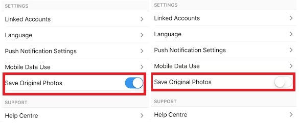 How to disable automatic Photo saving in Instagram for iOS?