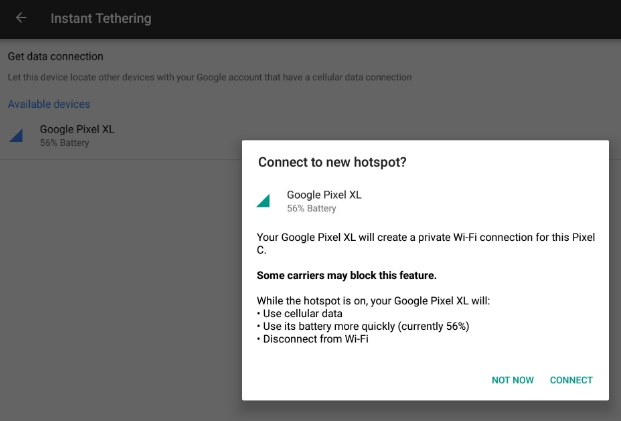 Pixel and Nexus Devices Getting New Feature called Instant Tethering