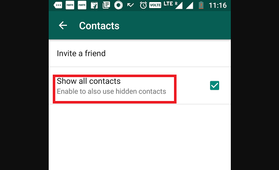 How to Enable/Disable Hidden Contacts in WhatsApp?