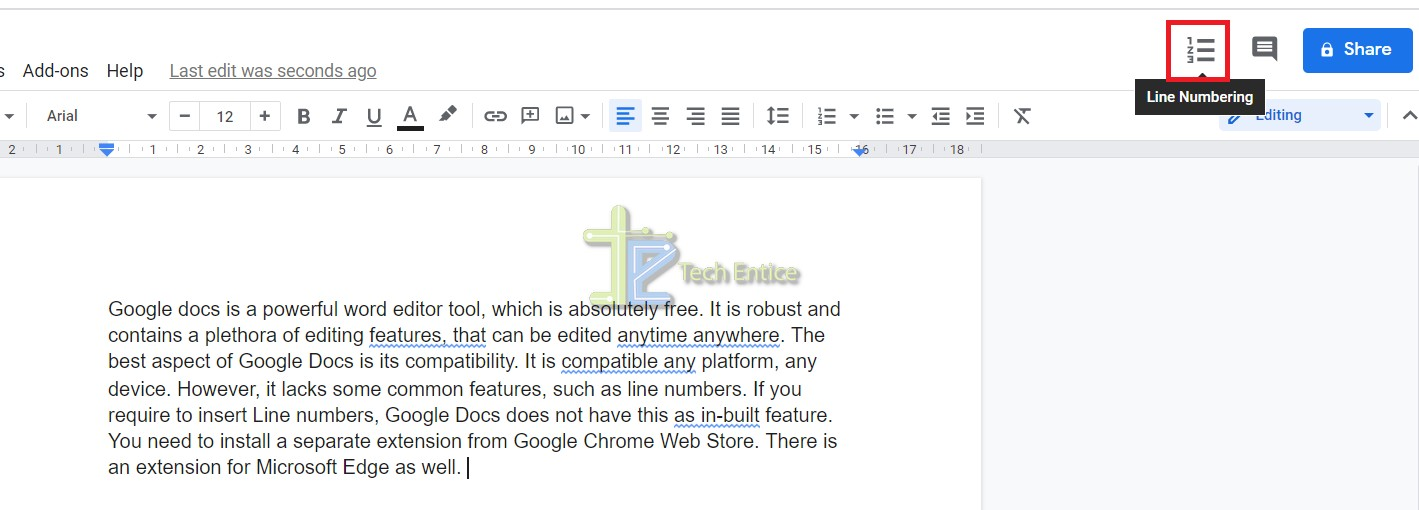 How To Insert Line Numbers In Google Docs Document