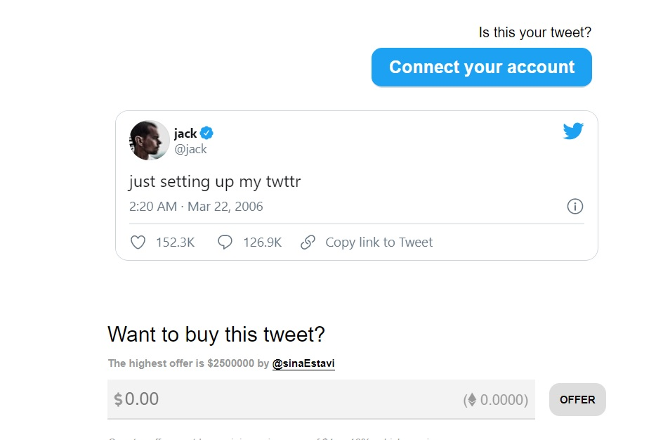 Co-Founder Of Twitter Jack Dorsey Selling First Ever Tweet As NFT