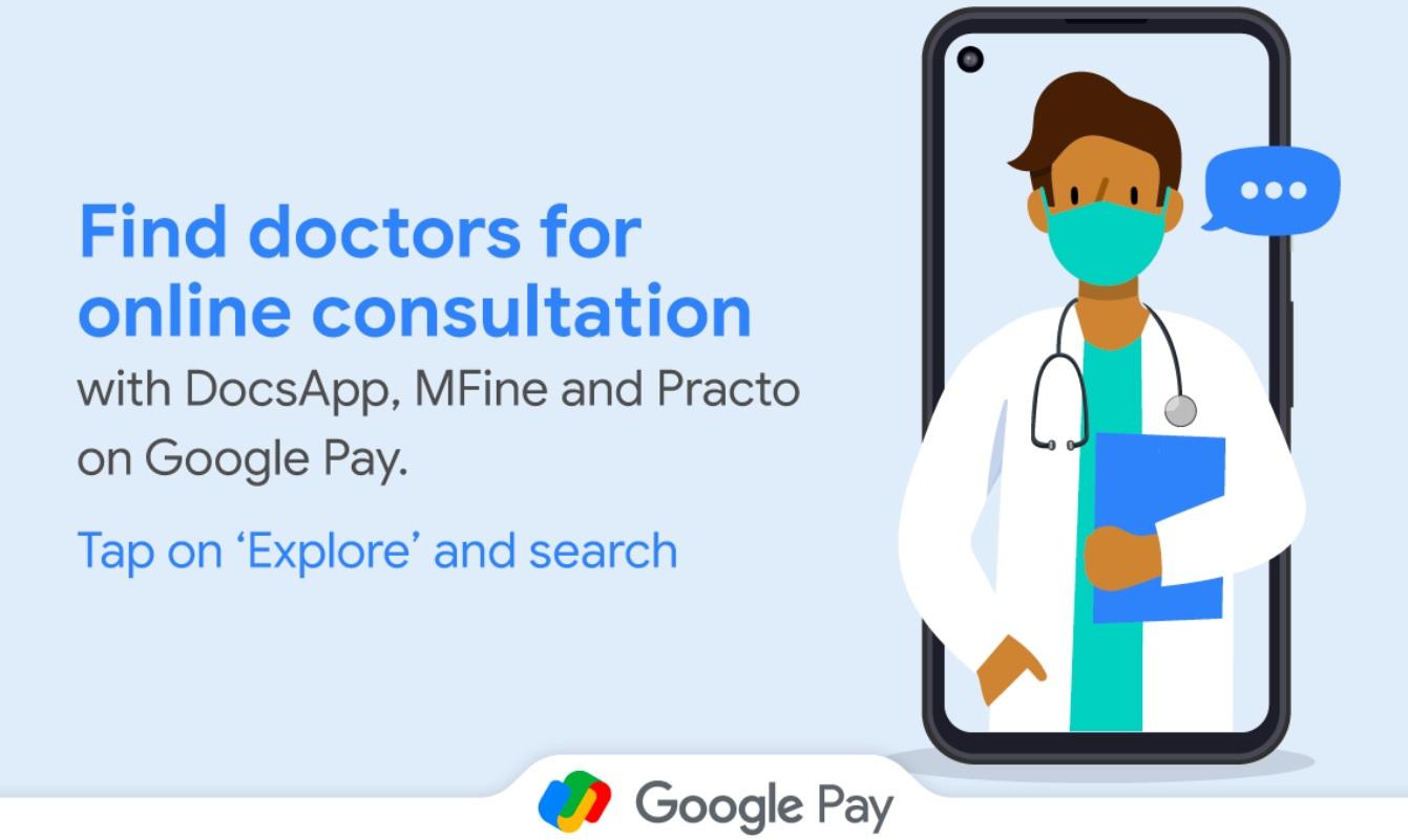 google pay practo Mfine docsapp