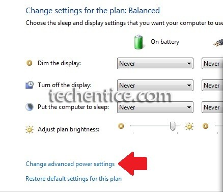 click on advanced setting