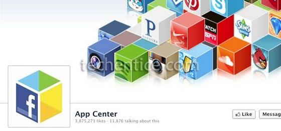 facebook app center page
