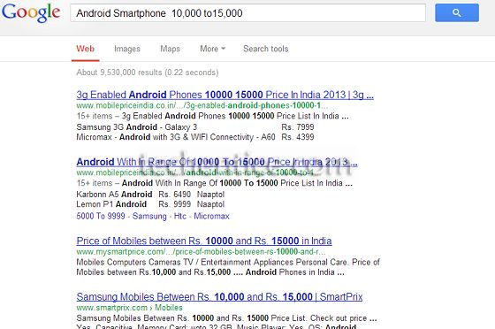 Google Price Range